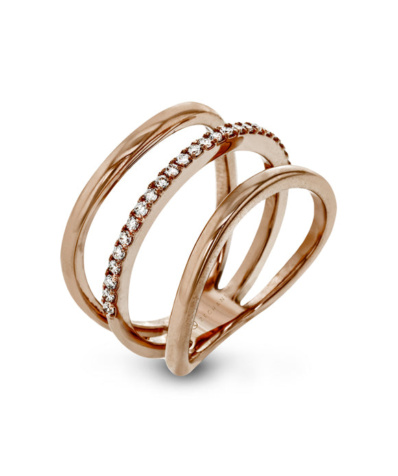 Zeghani - 14K Rose Gold Diamond Ring