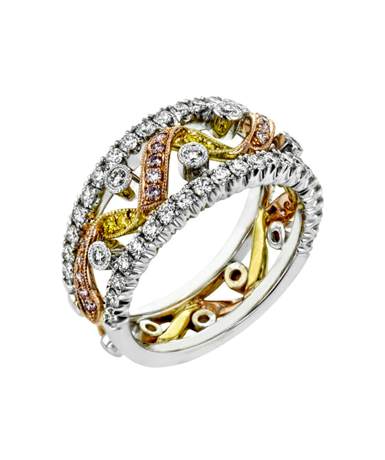 Simon G. - 18K Tri-Tone Gold Diamond Fashion Ring