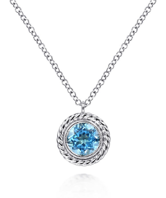 14K White Gold Round Blue Topaz and Twisted Rope Pendant Necklace