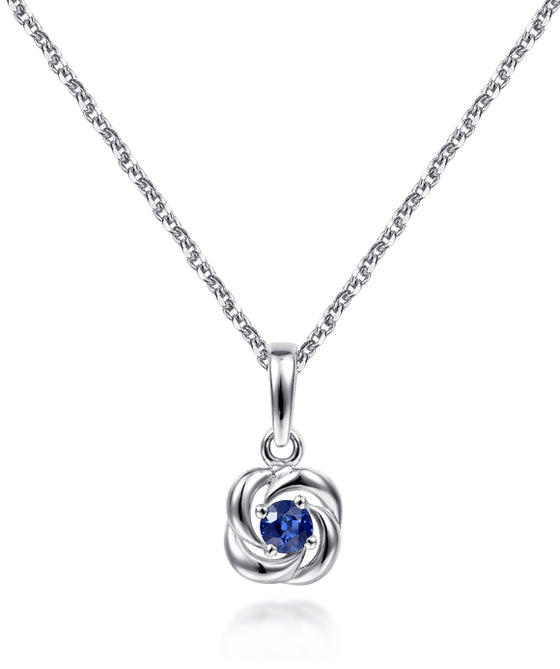 14K White Gold Round Sapphire with Twisted Metal Frame Pendant Necklace