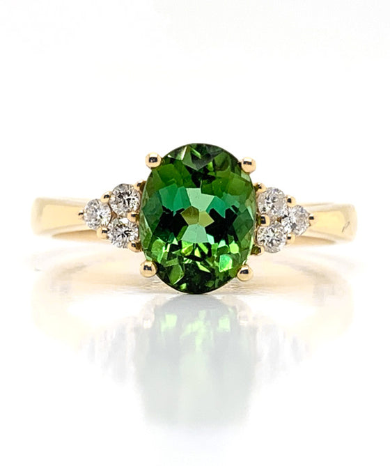 18K Yellow Gold Tourmaline & Diamond Ring