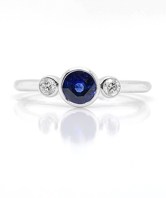 18K White Gold Bezel Set Sapphire & Diamond Ring
