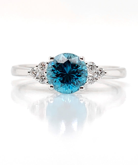 18K White Gold Blue Zircon & Diamond Ring