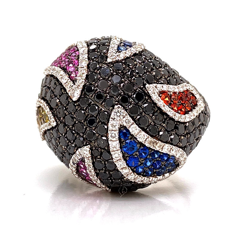 Solid 18K White Gold Multi Sapphire & Genuine Diamond Ring By Siera 18.5g  -  Estate Jewelry