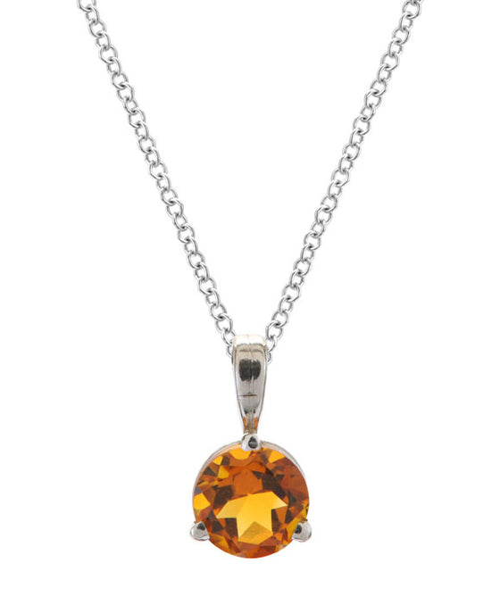 Simple Solitaire Round Citrine Pendant 14K White Gold and Silver
