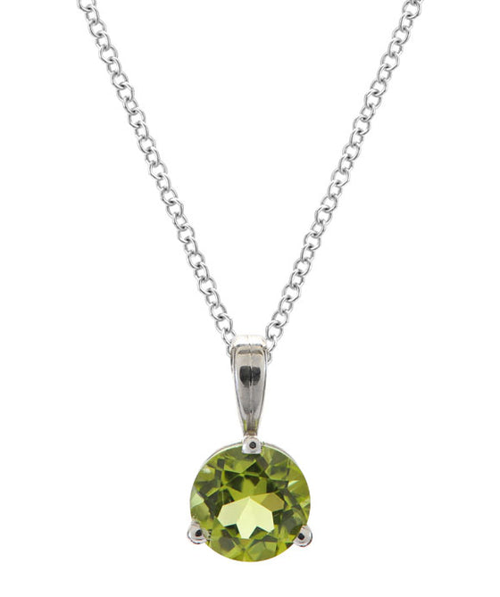 Simple Solitaire Round Peridot Pendant 14K White Gold and Silver
