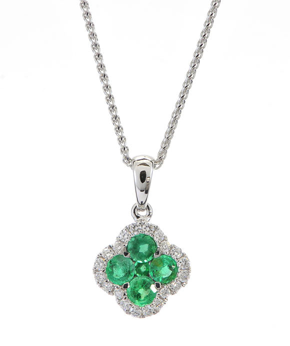 14K White Gold Diamond and Emerald Pendant
