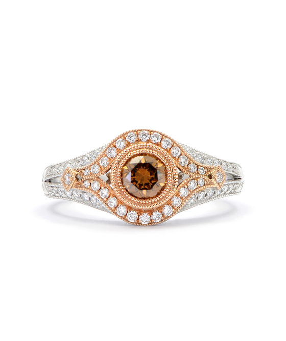 14K Two Tone Champagne Diamond Ring