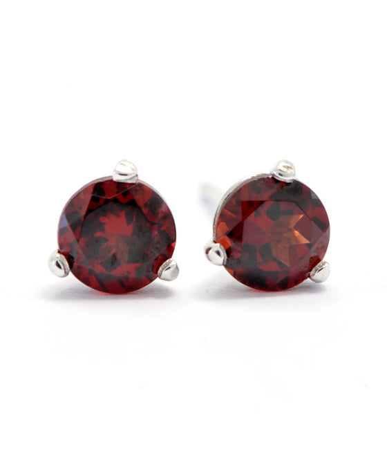 14K White Gold and Silver 5mm Garnet Studs