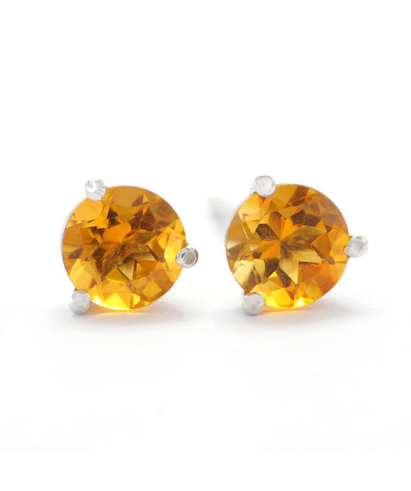 14K White Gold and Silver 5mm Citrine Studs