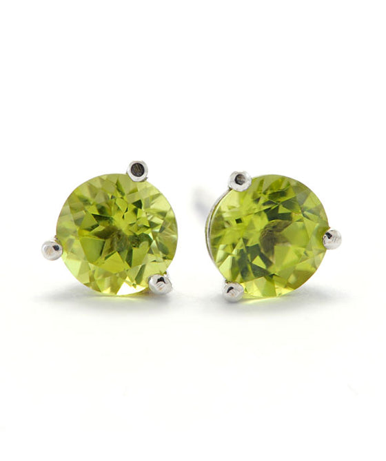 14K White Gold and Silver 5mm Peridot Studs