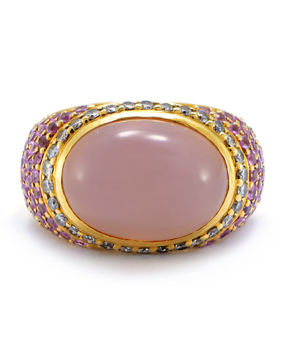 Solid 18K Yellow Gold Genuine Rose Quartz, Diamond & Pink Sapphire Ring 12.8g - Estate Jewelry