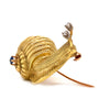 Solid 18K Yellow Gold Diamond and Sapphire Snail Pin/ Brooch 13.7g -  Estate Jewelry