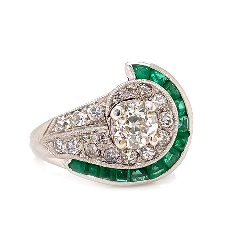 Pure Platinum Antique Diamond & Emerald Ring 5.9 grams size 5.25  -  Estate Jewelry