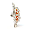 Solid 18K White Gold Amber, Genuine Diamond & Natural Ruby Turtle Pendant/Pin -  Estate Jewelry
