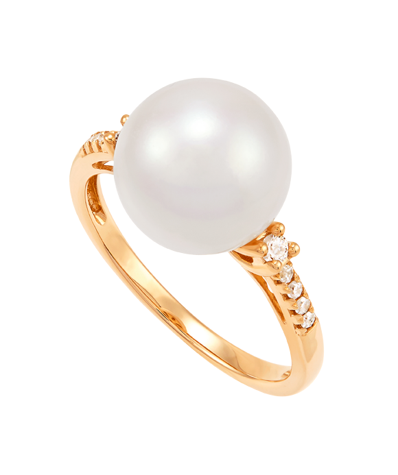 Honora 14K Yellow Gold Diamond and Pearl Fashion Ring