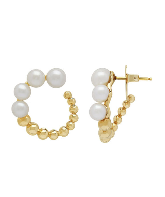 Honora 14K Yellow Gold Pearl Hoop Earrings