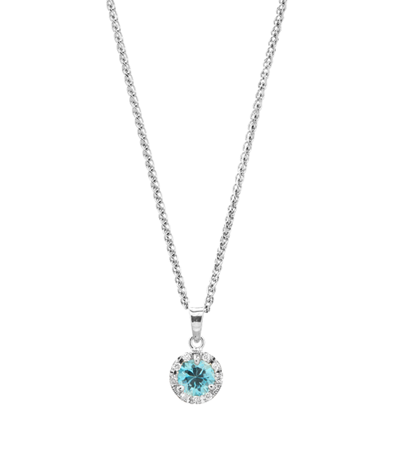 14K White Gold Diamond Halo Birthstone Pendant