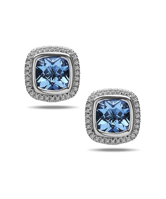 Charles Krypell 14K Gold & Sterling Silver Diamond & Blue Topaz Earrings