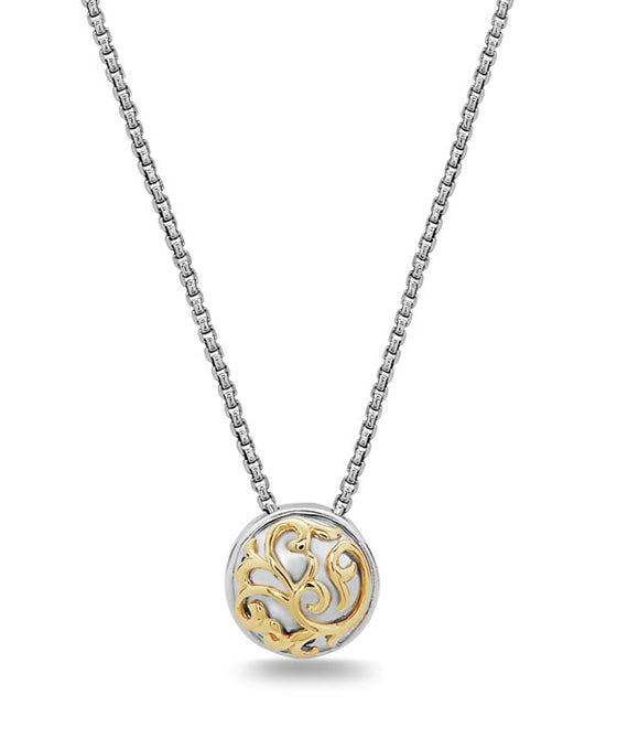Charles Krypell 18K Gold & Sterling Silver Ivy Lace Two-Tone Circle Necklace