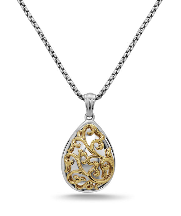 Charles Krypell 18K Gold & Sterling Silver Ivy Lace Two-Tone Pear Necklace