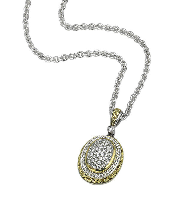 Charles Krypell 18K Gold & Sterling Silver Two-Tone Diamond Necklace