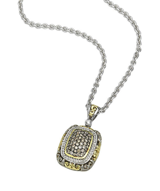 Charles Krypell 18K Gold & Sterling Silver Two-Tone White & Brown Diamond Necklace