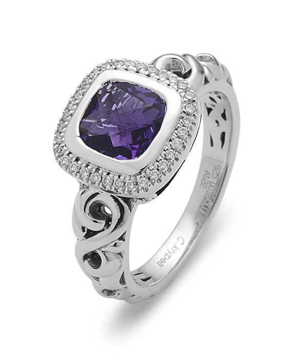 Charles Krypell Sterling Silver Diamond & Amethyst Halo Ring