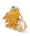 Solid 18K Yellow Gold Bird Brooch with Genuine Diamonds, Citrine & Emerald 10.1g -  Estate Jewelry