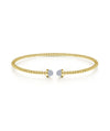 14K Yellow Gold Flex Bead Diamond Bangle