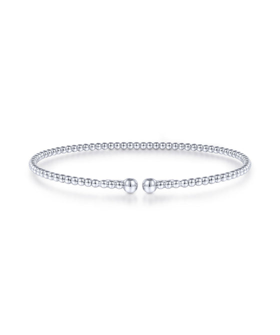 14K White Gold Bead Fashion Bangle