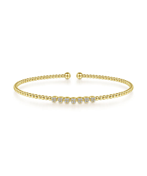14K Yellow Gold Beaded Diamond Bangle