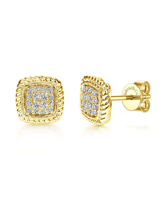 14K Yellow Gold Rope and Diamond Stud Earrings