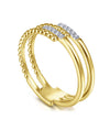 14K Yellow Gold Beaded Interlocking Diamond Ring