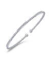 14K White Gold Bujukan Bead Cuff Bracelet with Diamond Pave Stations