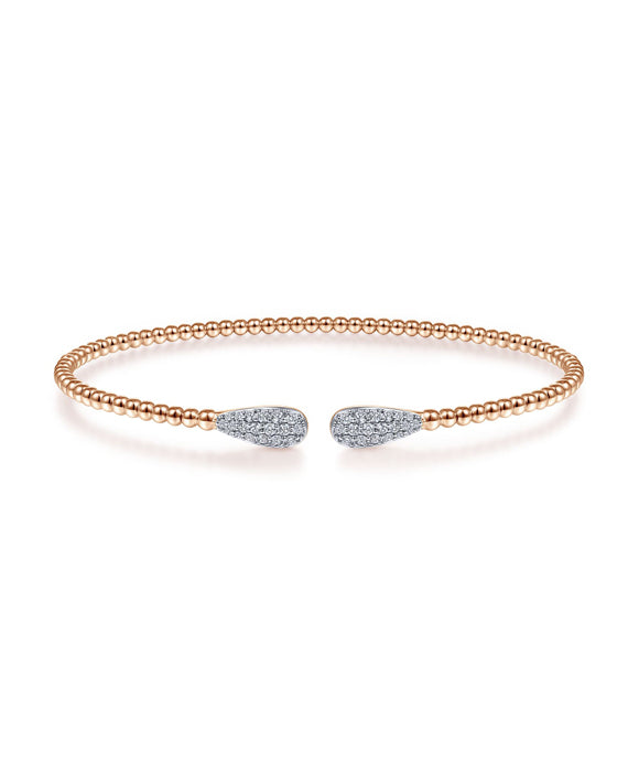 14K Rose Gold Bujukan Bead Cuff Bracelet with Diamond Pave Teardrops