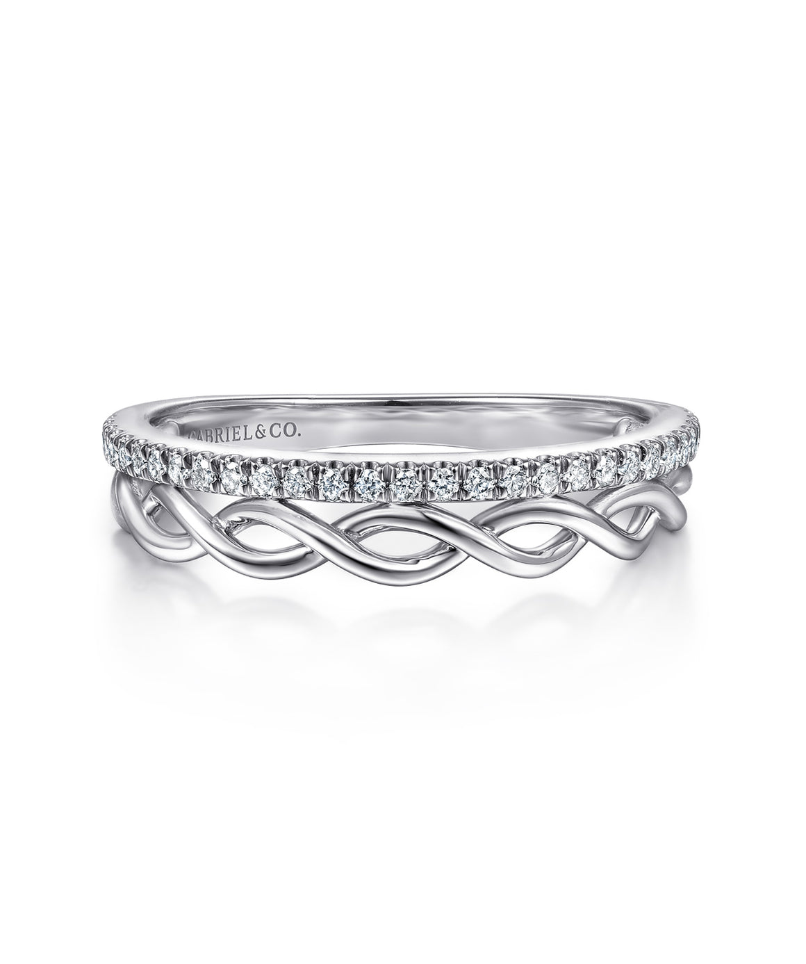 14K White Gold Braided Metal and Diamond Row Ring