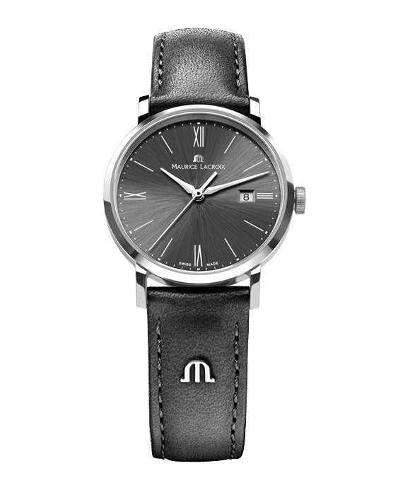 MAURICE LACROIX LADIES, BLACK/SILVER, LEATHER STRAP