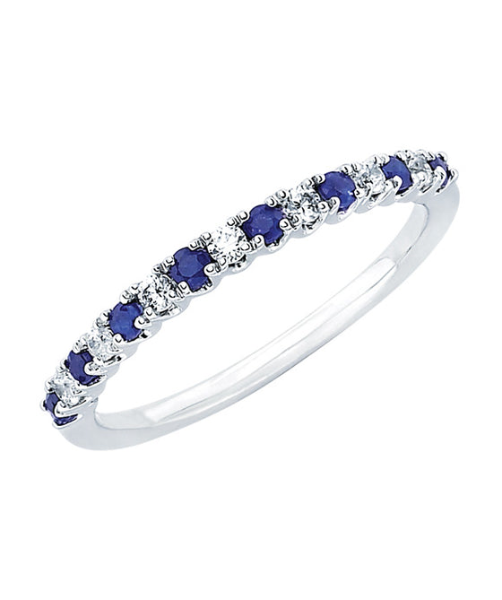 Ostbye - 14K White Gold Diamond and Sapphire Band