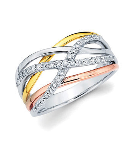 Ostbye - 14K Tri-Tone Diamond Ring
