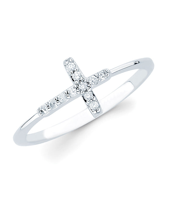 Ostbye - 14K White Gold Cross Ring