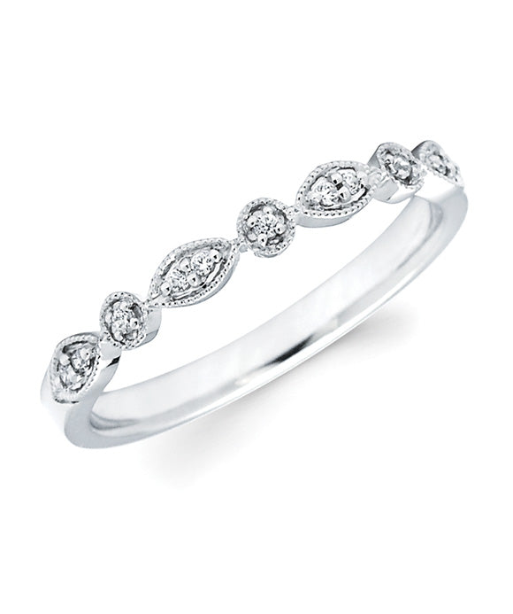 Ostbye - 14K White Gold Diamond Milgrain Band