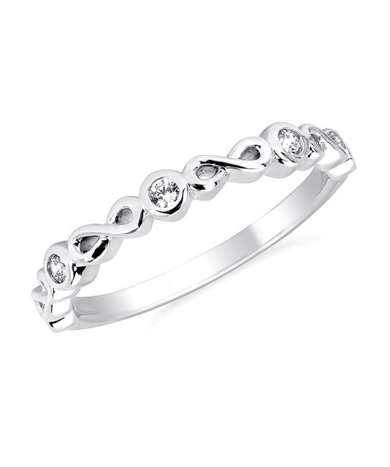 Ostbye - 14K White Gold Diamond Bezel Fashion Band