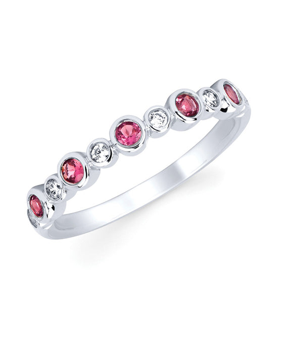 Ostbye - 14K White Gold Diamond and Pink Tourmaline Bezel Stackable Band