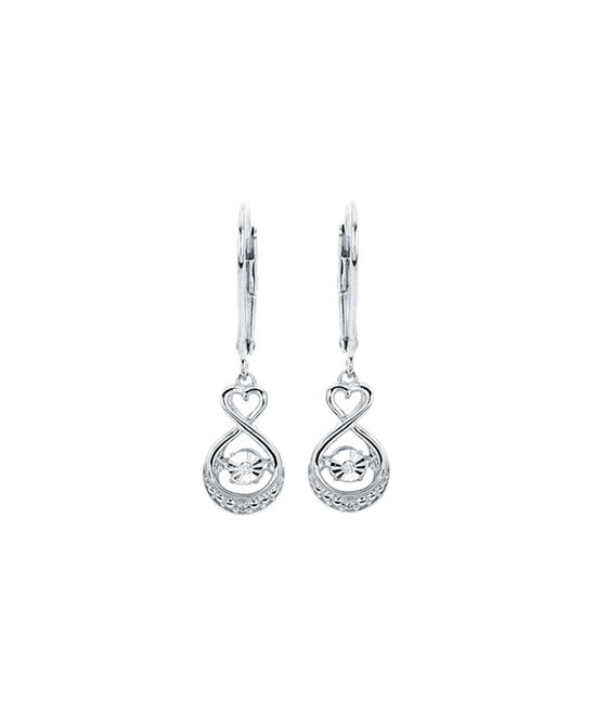 Ostbye - Sterling Silver Diamond Heart Drop Earrings