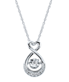 Ostbye - Sterling Silver Diamond Heart Drop Necklace