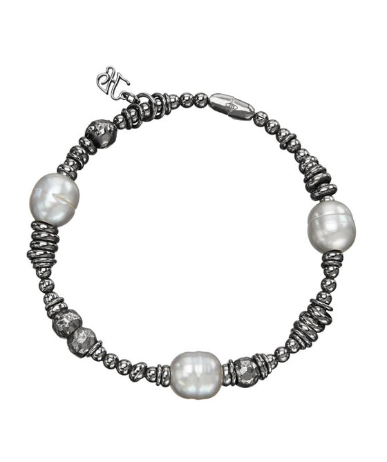 Honora Sterling Silver Stretch Grey Pearl Bracelet
