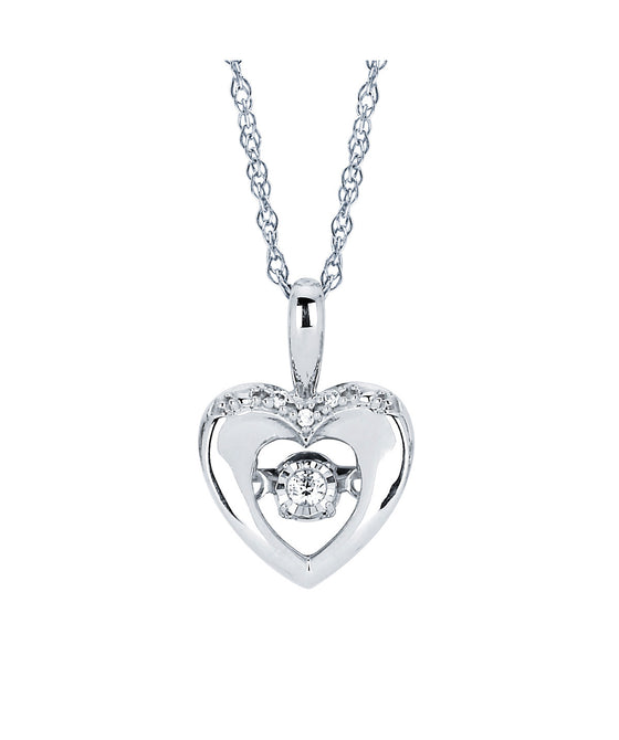 Ostbye - Sterling Silver Heart Pendant with Shimmering Diamond