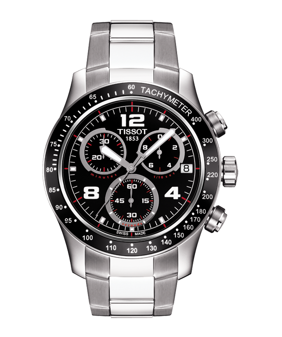 TISSOT V8 Chronograph Black Dial Men's Watch