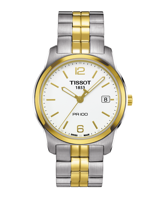 TISSOT PR100 WHITE DIAL TWO-TONE MEN'S WATCH
